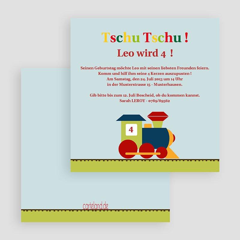 Einladungskarten Geburtstag Jungen Bunte Lokomotive gratuit