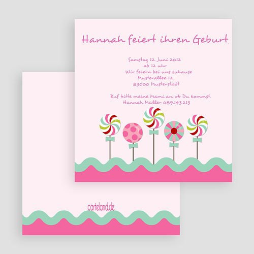 Einladungskarten Geburtstag Mädchen Zucker gratuit