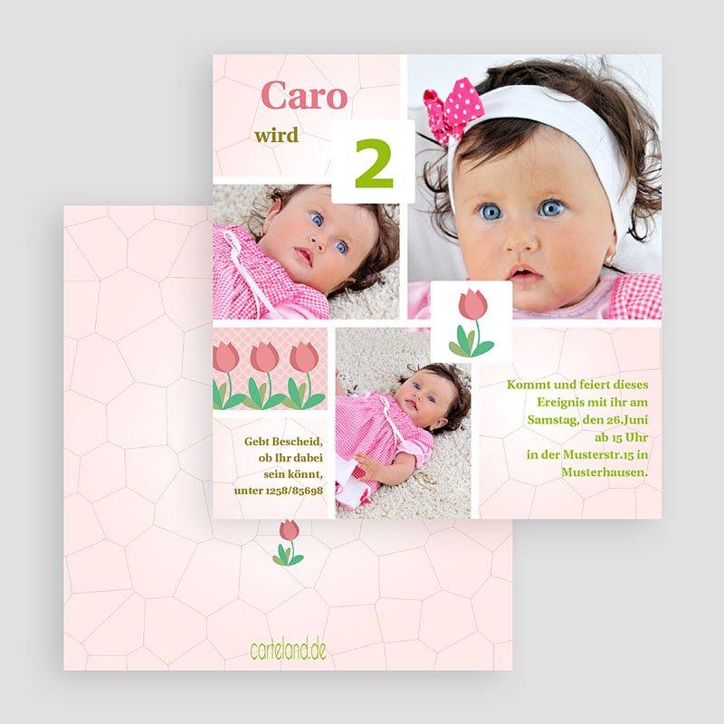 Einladungskarten Geburtstag Mädchen Rosa Tulpen gratuit