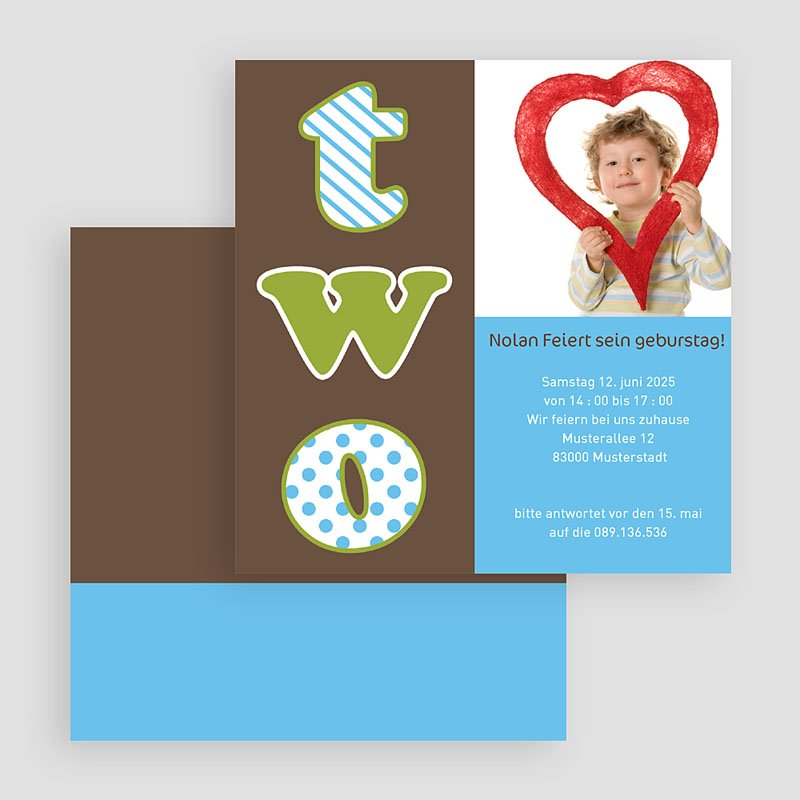 Einladungskarten Geburtstag Jungen Two gratuit