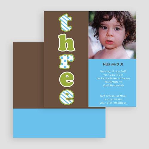 Einladungskarten Geburtstag Jungen Three drei trois gratuit