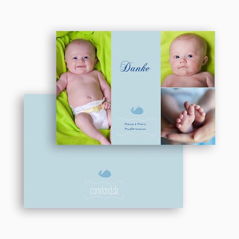 Dankeskarten Geburt Jungen - Walbaby 19450 thumb