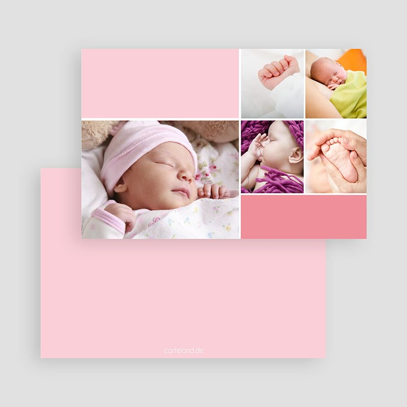 Geburtskarten für Mädchen Rosatöne gratuit