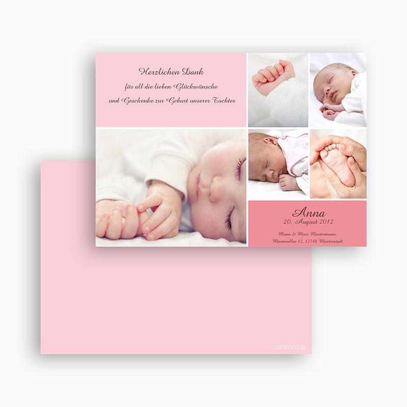 Dankeskarten Geburt Mädchen - Rosa 19590 thumb