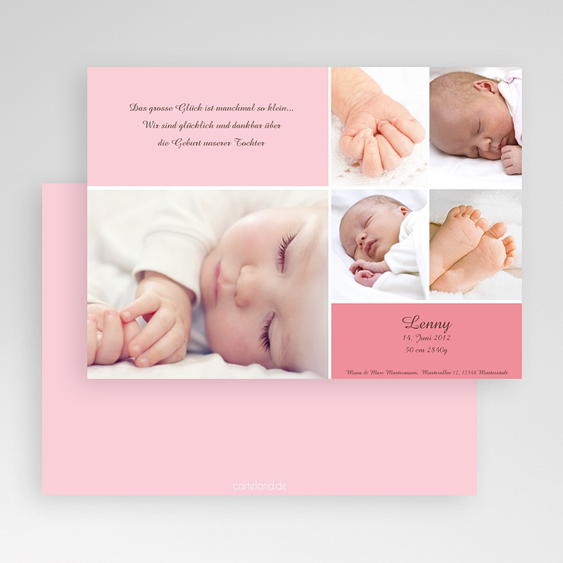 Geburtskarten für Mädchen Fotoreihe rosé gratuit