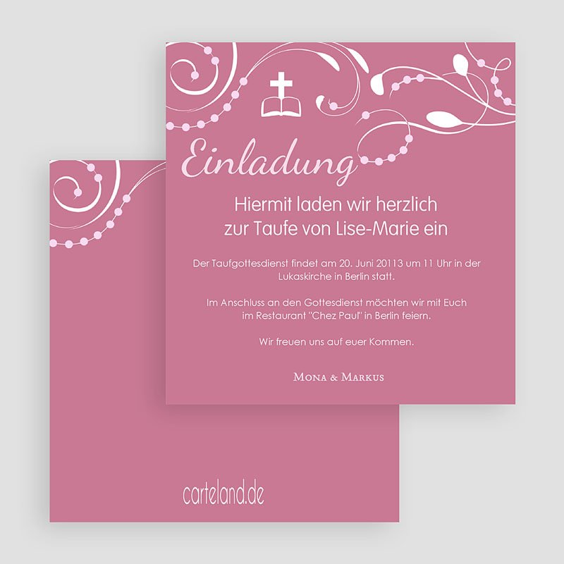 Einladungskarten Taufe für Mädchen Stilvoll gratuit