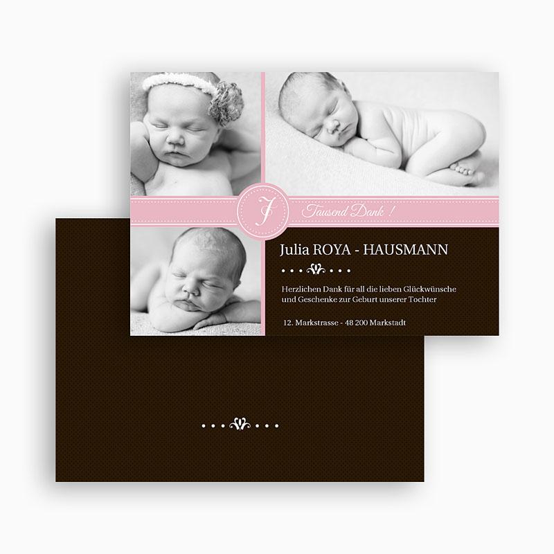 Dankeskarten Geburt Mädchen Pink s w gratuit