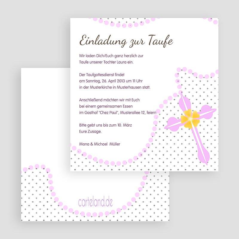Einladungskarten Taufe für Mädchen Zartrosa gratuit