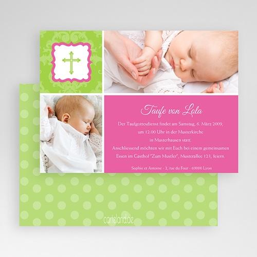 Einladungskarten Taufe Mädchen - Grün Pink 19685 preview