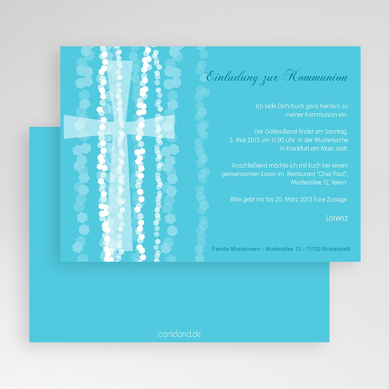 Einladungskarten Kommunion Jungen - Taufkarte Kreuz 19687 thumb