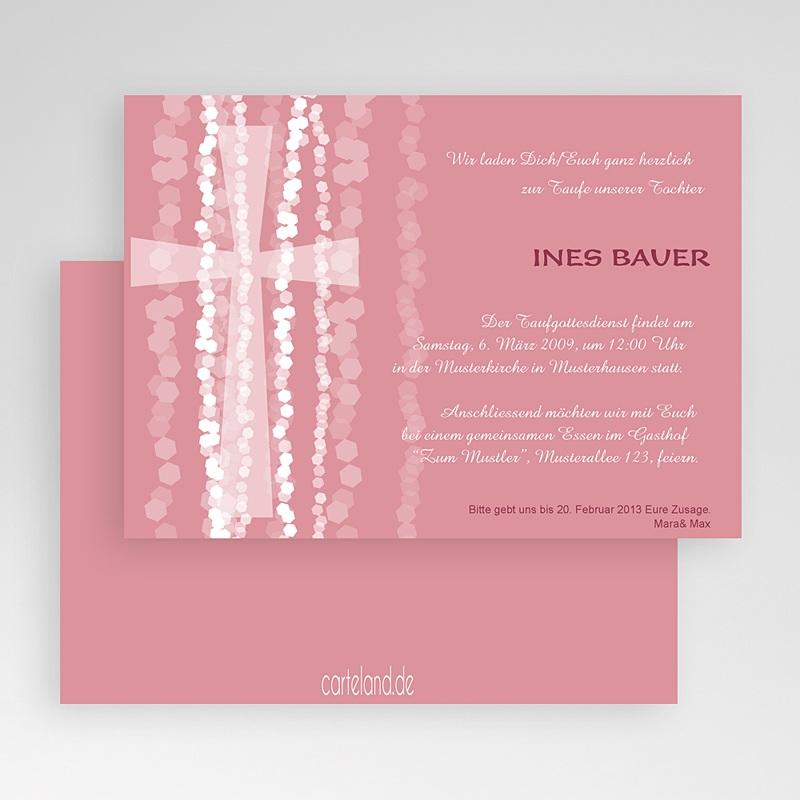 Einladungskarten Taufe für Mädchen Pink gratuit