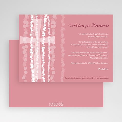 Einladungskarten Kommunion Mädchen - Pink 19691 preview