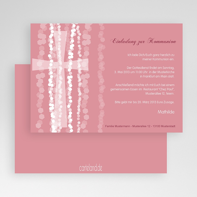 Einladungskarten Kommunion fur Mädchen Pink gratuit