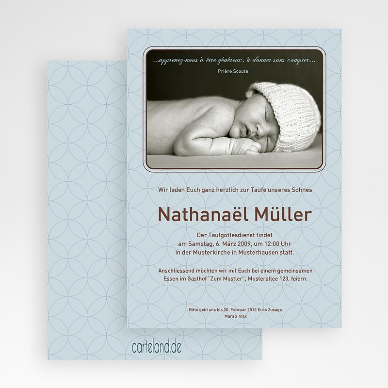 Einladungskarten Taufe für Jungen Baby gratuit