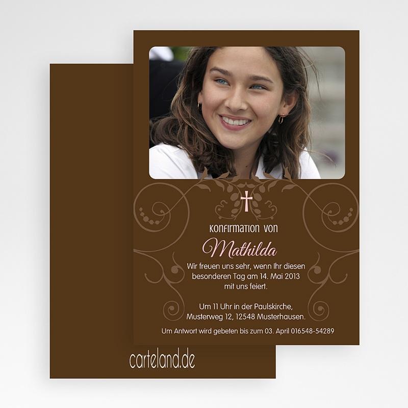 Einladungskarten Konfirmation Kommunionseinladung braun gratuit
