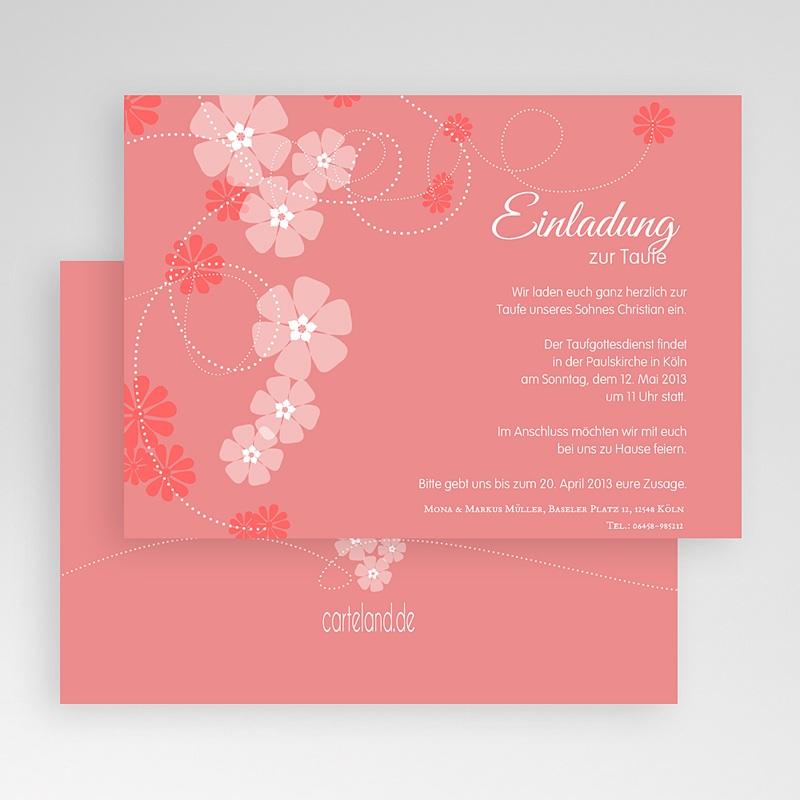 Einladungskarten Taufe für Mädchen Floral Charme gratuit