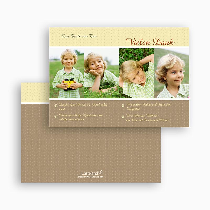 Dankeskarten Taufe Jungen Portrait gratuit