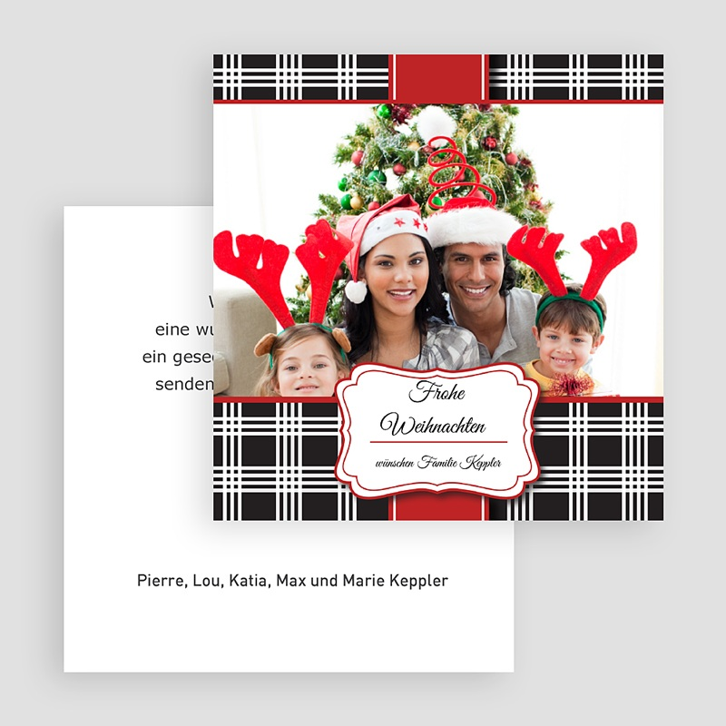 Weihnachtskarten Karomuster gratuit