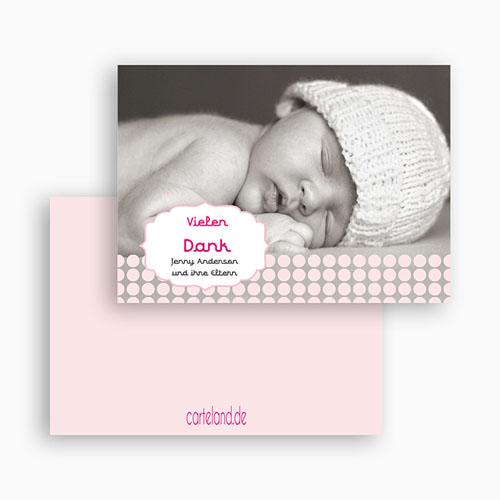 Dankeskarten Geburt Mädchen - Retro Rosa 19913 test