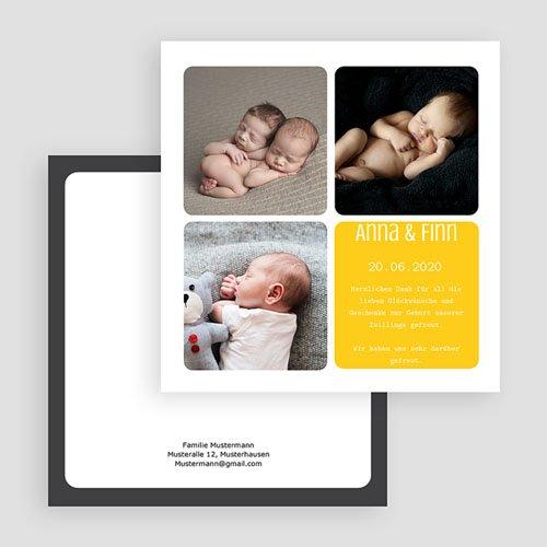 Geburtskarten für Mädchen - Drei Fotos gelb 20024 preview
