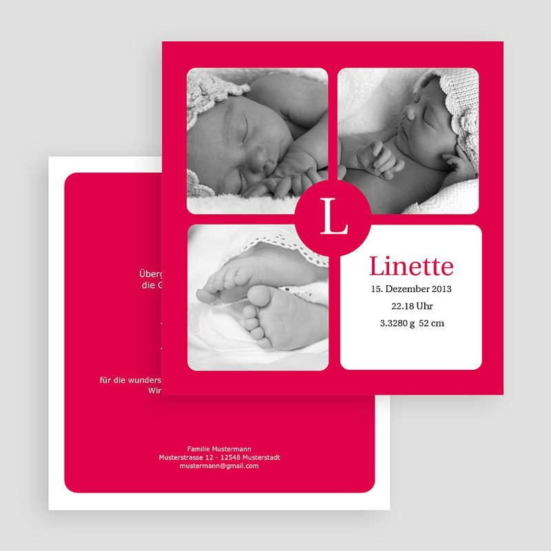 Geburtskarten für Mädchen - Linette 20026 thumb