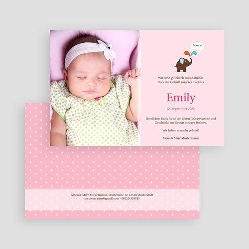 Geburtskarten mit Elefant Emily gratuit