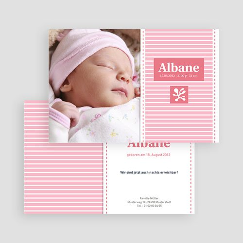 Geburtskarten für Mädchen - Streifendesign 20067 test