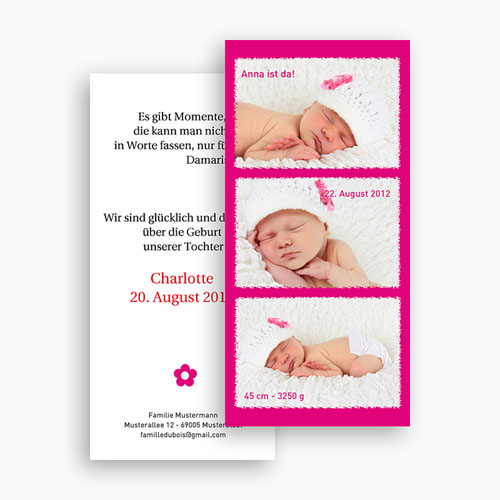 Geburtskarten für Mädchen - Multifoto Pink 20070 test