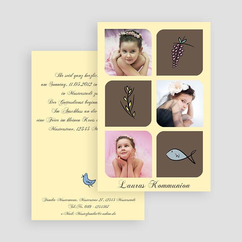 Einladungskarten Kommunion fur Mädchen Symbole gratuit