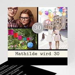 Runde Geburtstage - Einladungskarte modern - 1