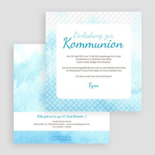 Einladungskarten Kommunion Jungen - Blauton 20419 thumb