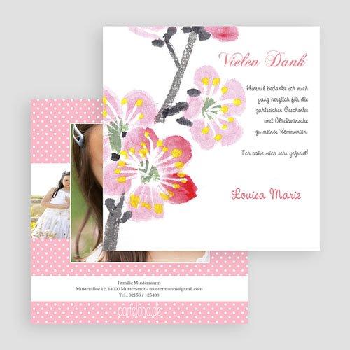 Dankeskarten Kommunion Mädchen Floral gratuit