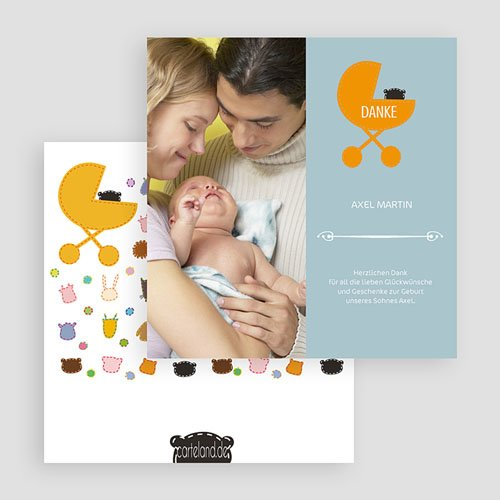 Dankeskarten Geburt Mädchen - Kinderbett 20431 test