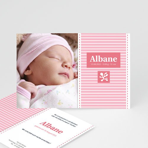 Geburtskarten für Mädchen - Streifendesign 2046 test