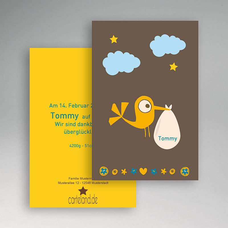 Geburtskarten für Jungen Storch Junge gratuit