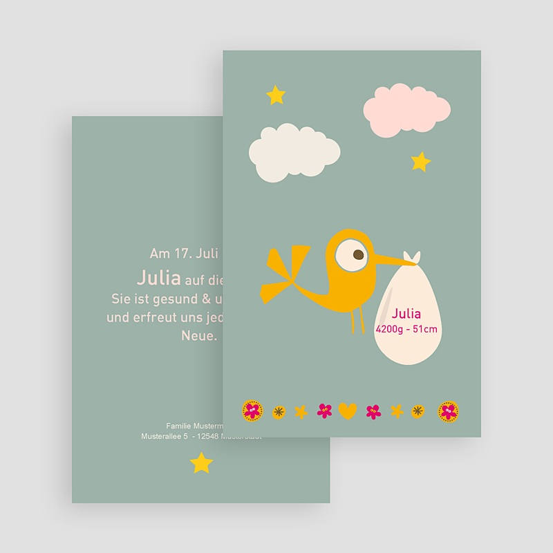 Geburtskarten Storch Mädchen gratuit