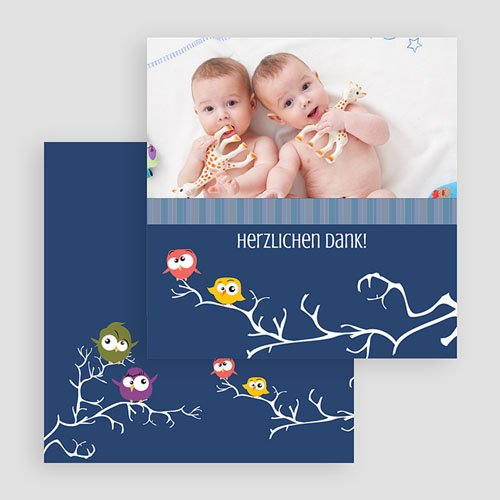 Dankeskarten Geburt Zwillinge - Eule 20481 preview