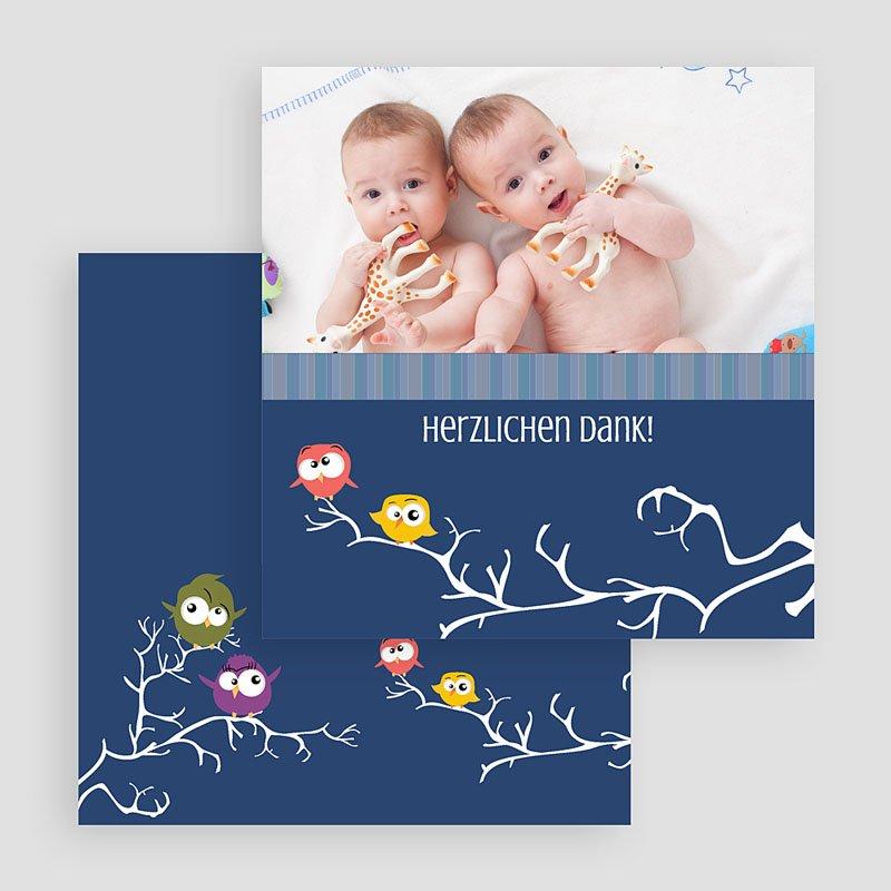 Dankeskarten Geburt für Zwillinge Eule gratuit