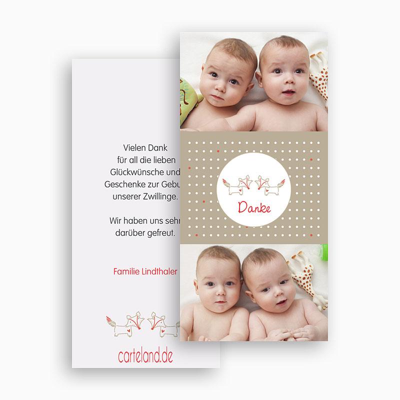 Dankeskarten Geburt Jungen - Füchse 20483 thumb