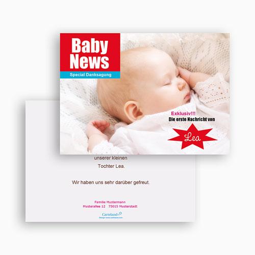 Dankeskarten Geburt Mädchen - Baby News 20484 test