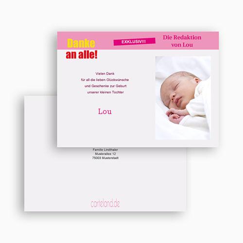 Dankeskarten Geburt Mädchen - Babystar 20486 test