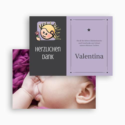 Dankeskarten Geburt Mädchen - Sternzeichen Jungfrau 20491 preview