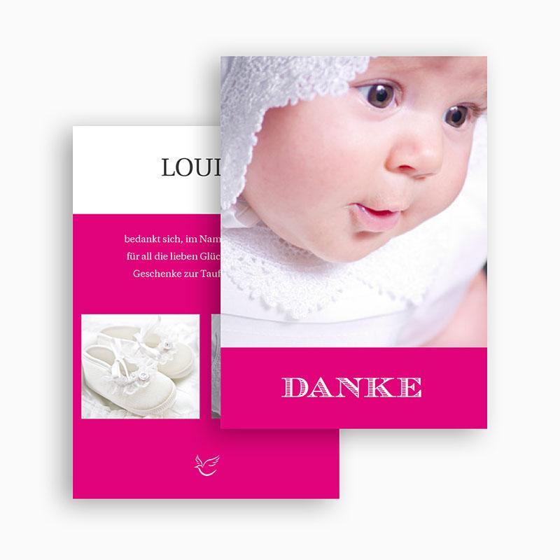 Dankeskarten Taufe Mädchen - Typo Rose 20777 thumb