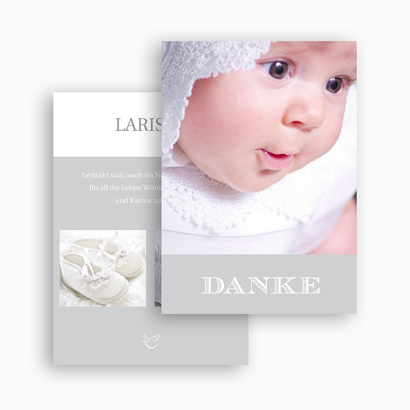 Dankeskarten Taufe Jungen - Typographie 20845 thumb
