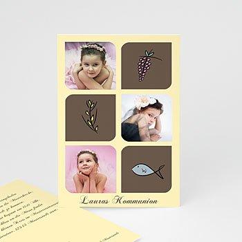 Einladungskarten Kommunion Mädchen Symbole
