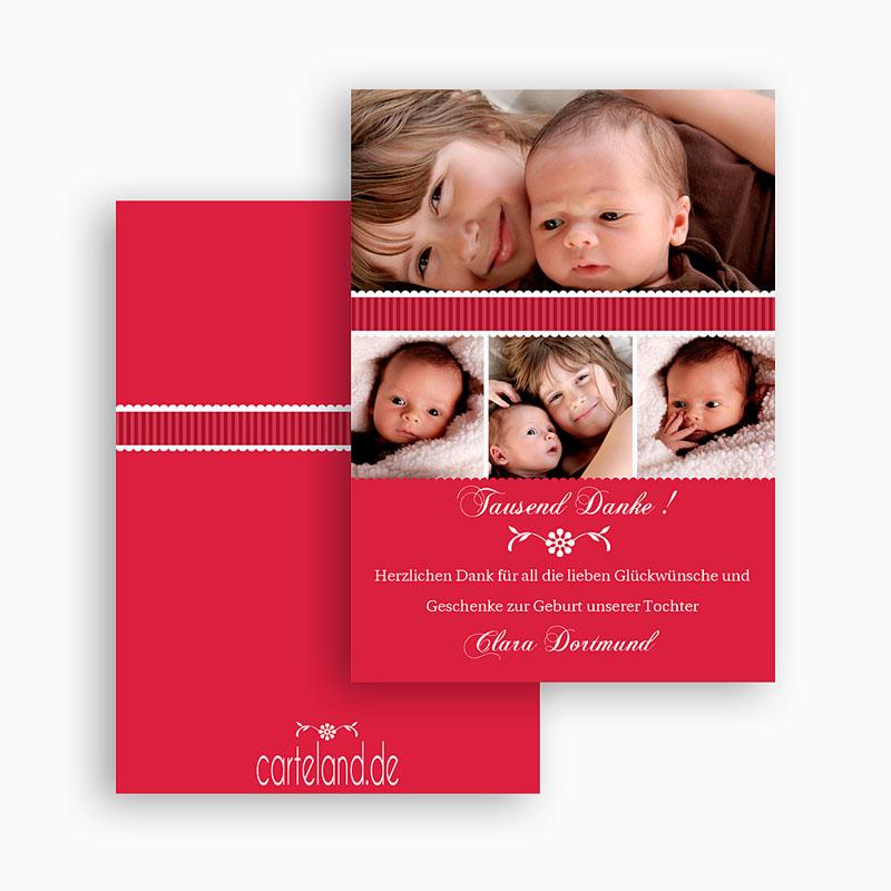 Dankeskarten Geburt Mädchen - Rubinrot 20997 thumb