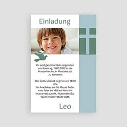 Einladungskarten Kommunion Jungen Kreuz & Taube