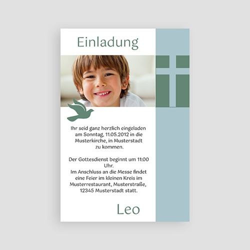 Einladungskarten Kommunion Jungen - Kreuz & Taube 2106 test