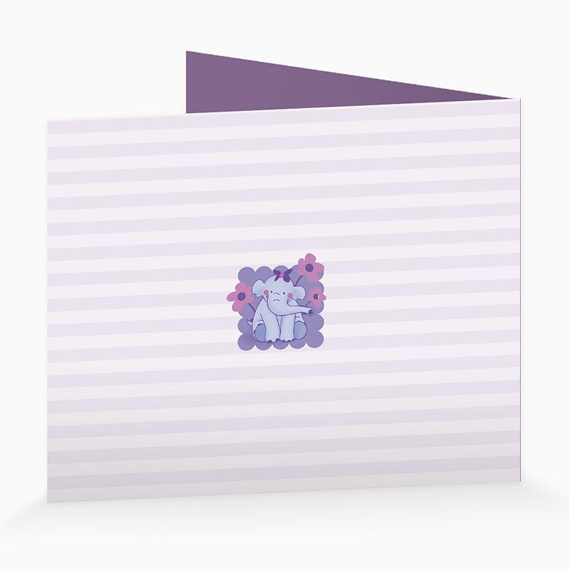 Geburtskarten mit Elefant Elefant in Violett gratuit