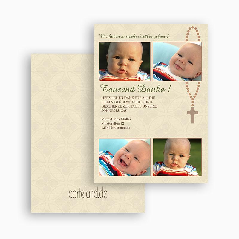 Dankeskarten Taufe Jungen - Baby kreuz 21352 thumb